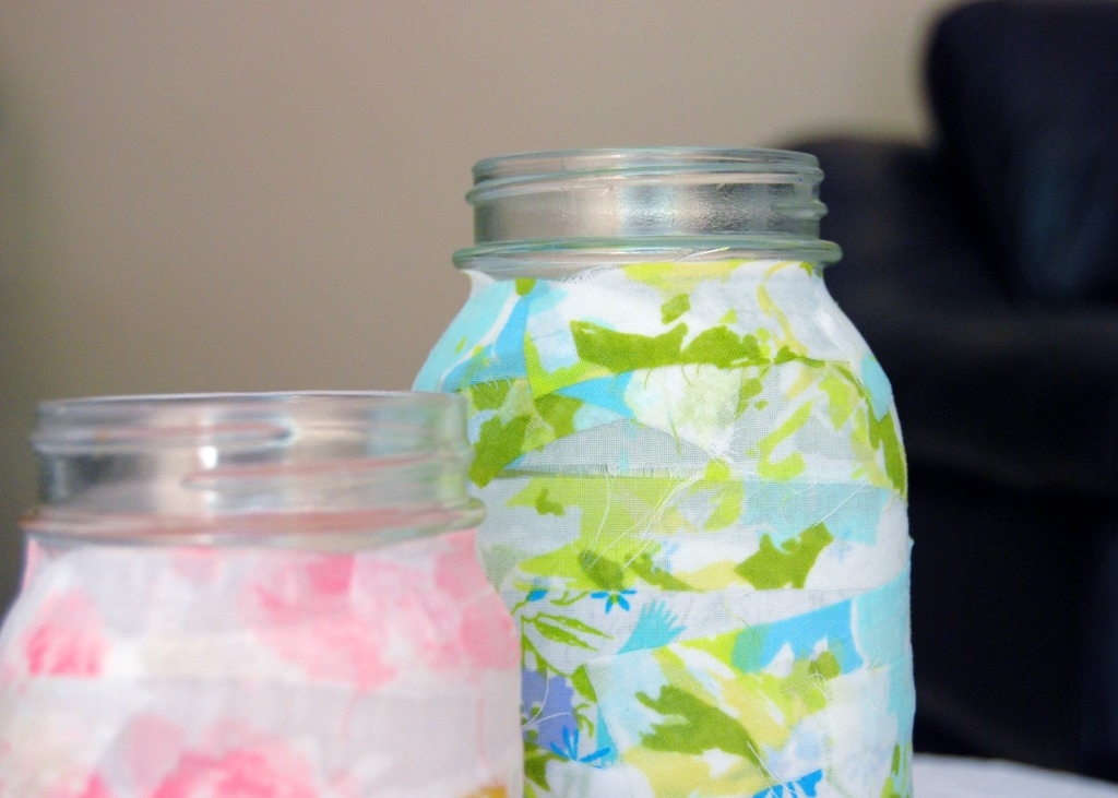 fabric covered jars close